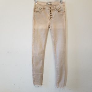Free People 24 x 26 Button Fly Skinny Raw Hems Dye
